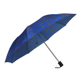 Paraply hopfällbart dam blå mönstrad