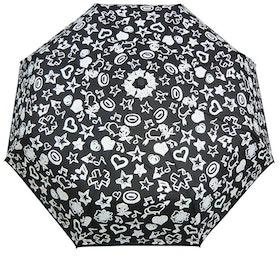 Paraply hopfällbart dam svart o vitt skiftar färg vid regn