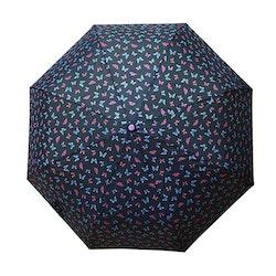 Paraply hopfällbart dam svart med fjärilar