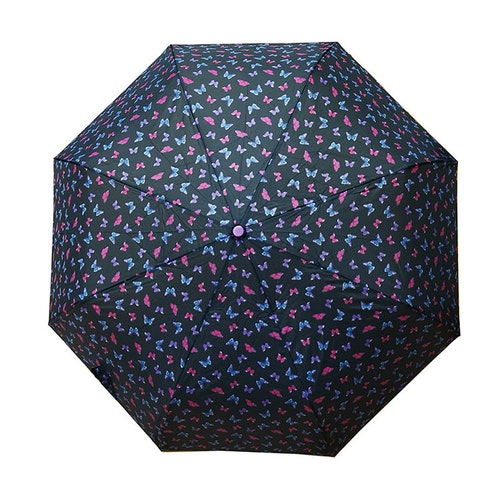 Paraply hopfällbart svart med fjärilar