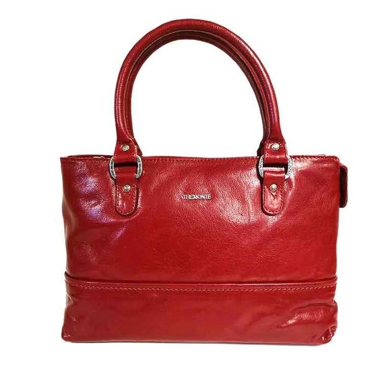 Handväska skinn röd The Monte 52544