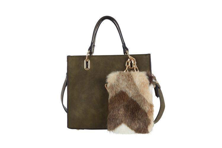 Ulrika design handväska konstpäls mobilväska grön axelväska