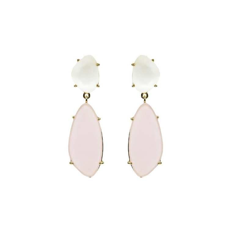 Hängande örhängen i guld med rosa sten