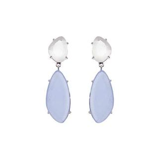 Hängande örhängen i silver med blå sten