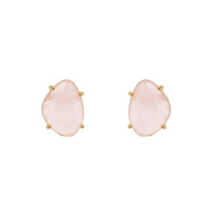 Klassiska örhängen i guld med rosa sten