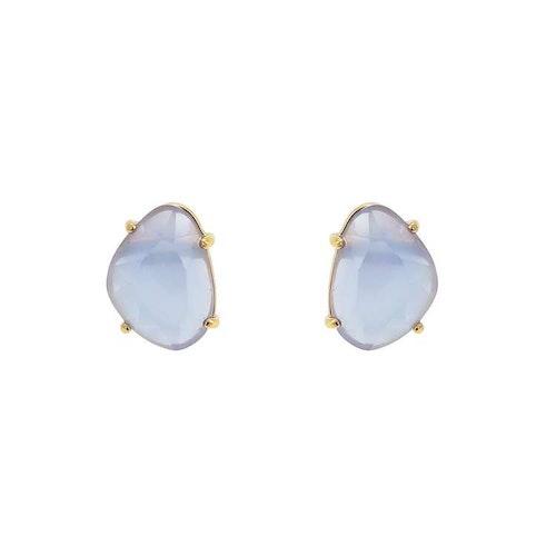 Klassiska örhängen i guld med blå sten
