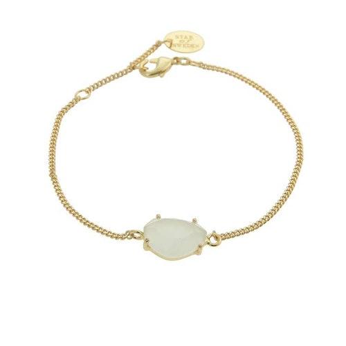 Klassiskt armband i guld med grön sten