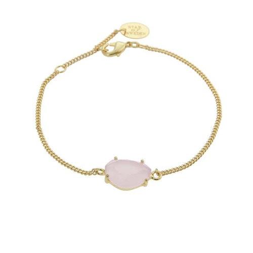 Klassiskt armband i guld med rosa sten