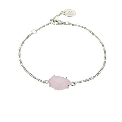 Klassiskt armband i silver med rosa sten