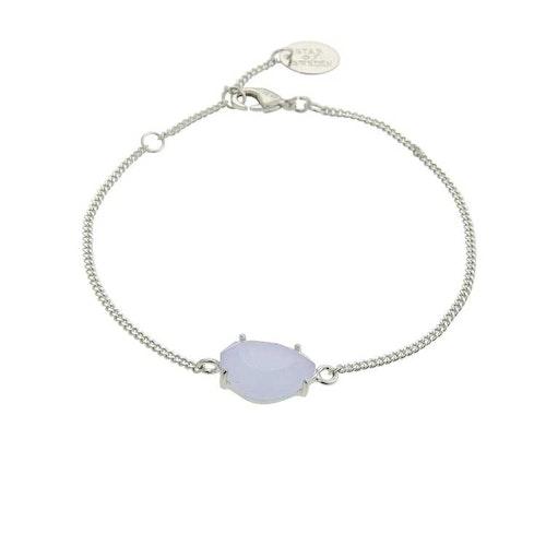 Klassiskt armband i silver med blå sten