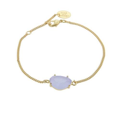 Klassiskt armband i guld med blå sten