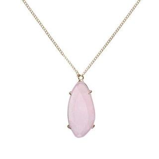 Långt halsband i guld med rosa sten