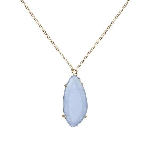 Långt halsband i guld med blå sten