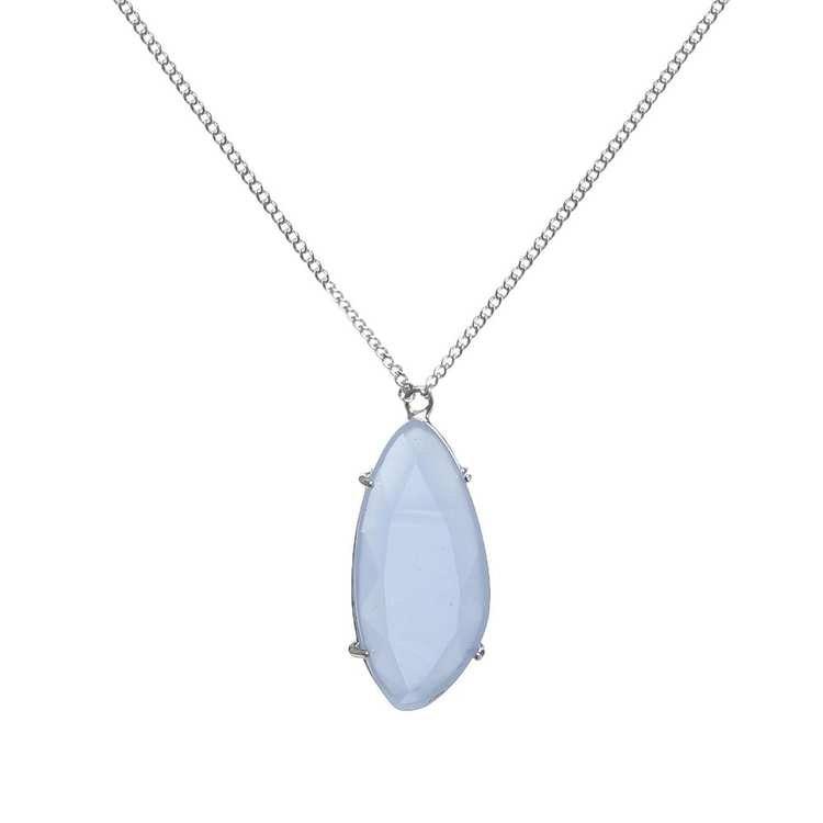 Långt halsband i silver med blå sten