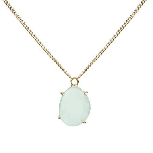 Kort halsband i guld med grön sten