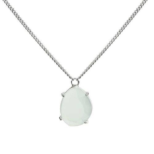 Kort halsband i silver med grön sten