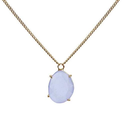 Kort halsband i guld med blå sten