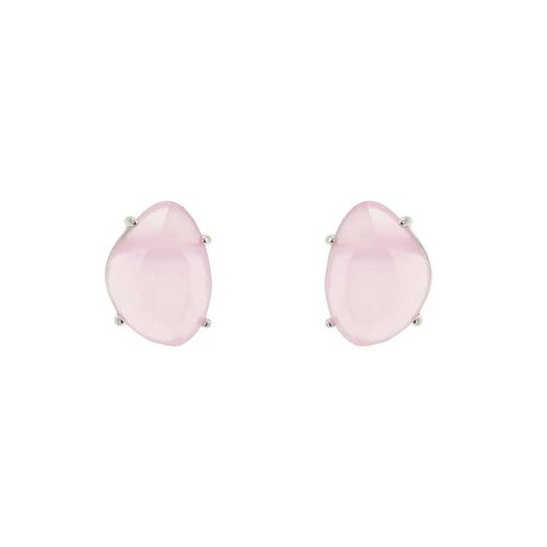Klassiska örhängen i silver med rosa sten