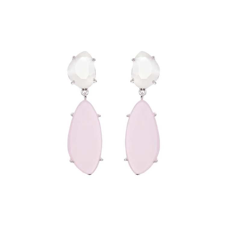Hängande örhängen i silver med rosa sten