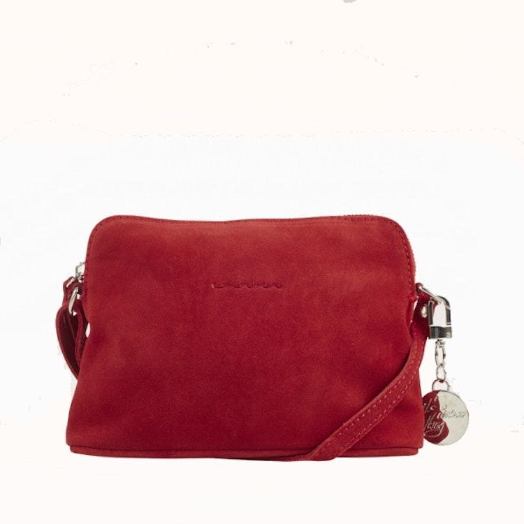 axelväska röd mocka ulrika design väska ulrikadesign liten silver clutch