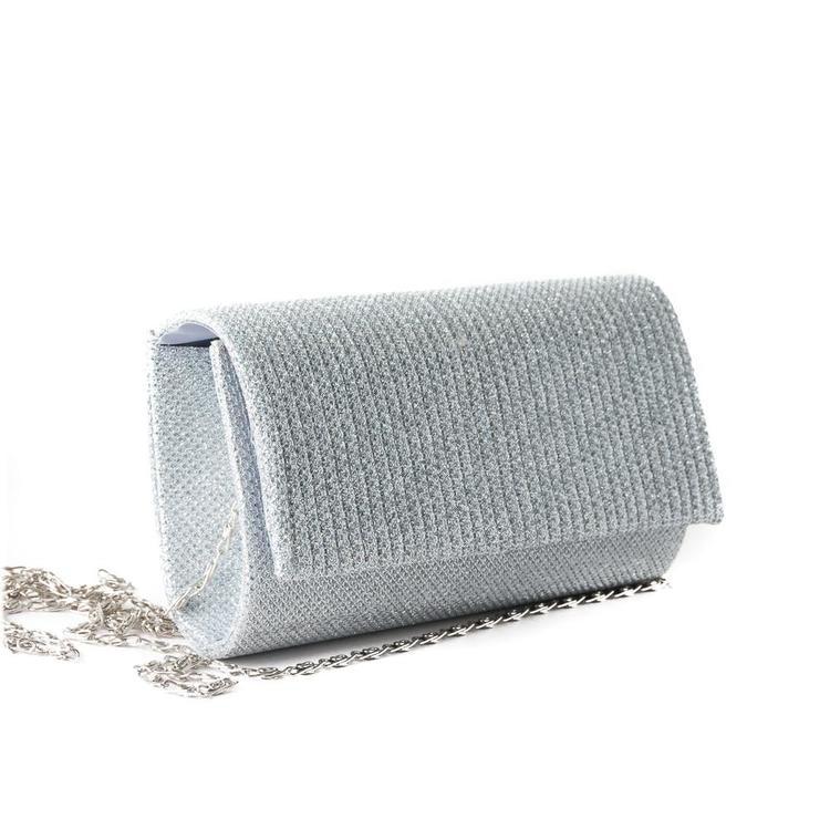 axelväska i glittrigt silver tyg, glittrande väska, partyväska