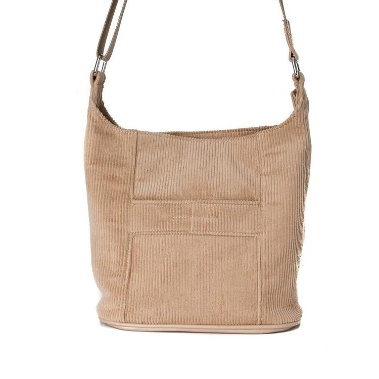 BAG, ANNA CORD/VELVET CROSSBAG SMALL BEIGE