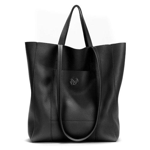 Shopper dubbla handtag svart läderimitation