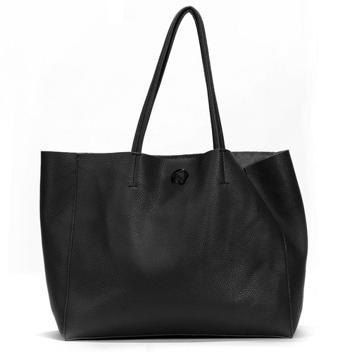 Shopper med clutch svart läderimitation