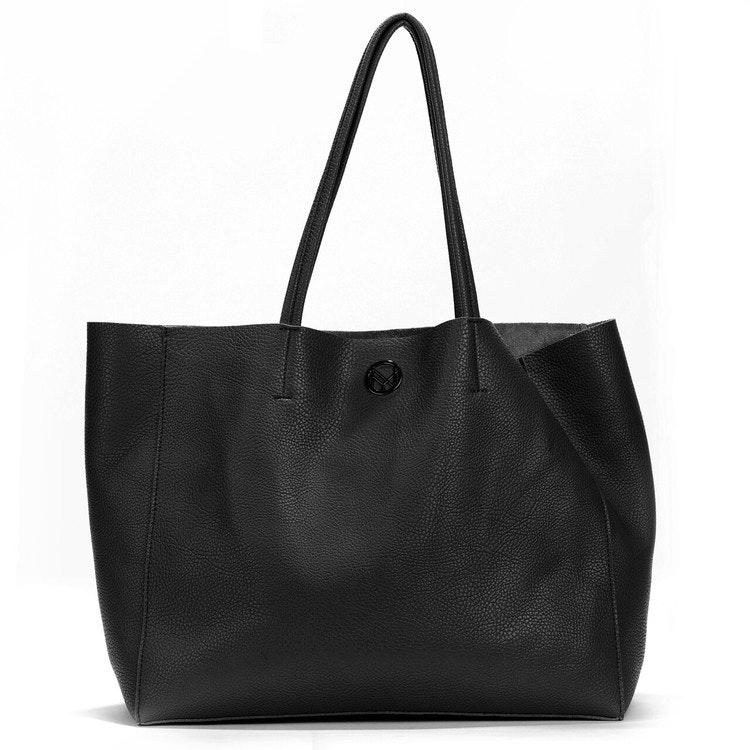 Shopper med clutch svart läderimitation 400125-01