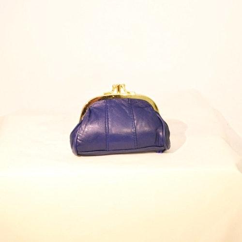 Portmonnä blå med bygel 2-fack skinn