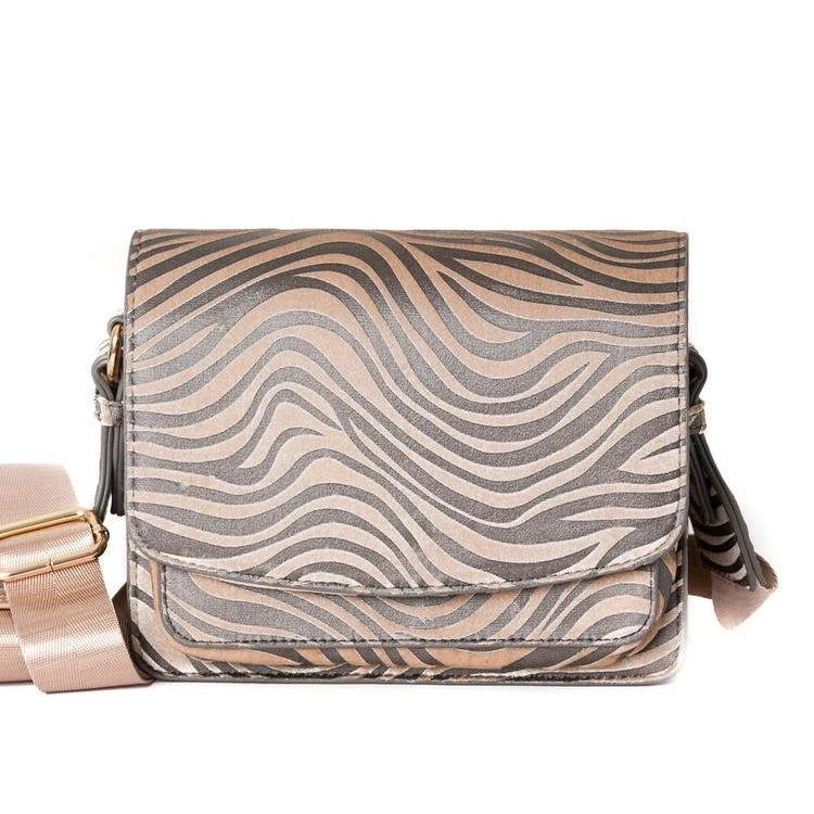 Cross Clutch beige med zebra mönster