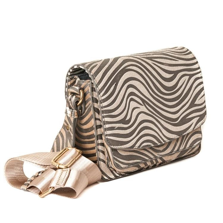 Axelremsväska zebramönster beige 640705