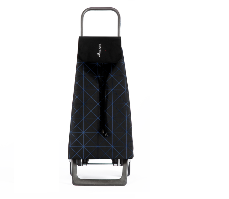 Shoppingvagn Joy svart väska med mönster i blåa linjer