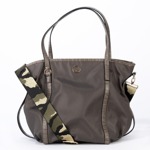 Bag nylon grön mönstrad axelrem NYPD 500225