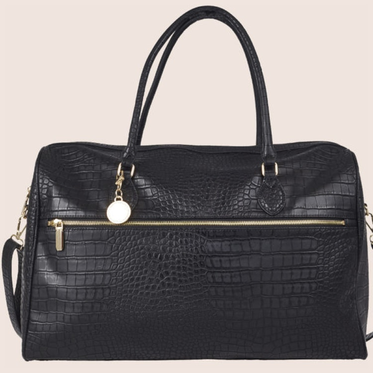 Bag Svart Stor Kroko-mönster