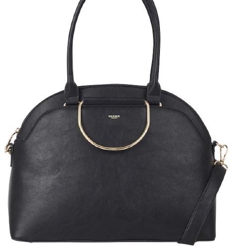 Handväska 2 handtag/axelrem svart halvmåne Ulrika Design