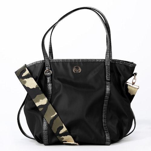 Bag nylon svart mönstrad axelrem NYPD 500225