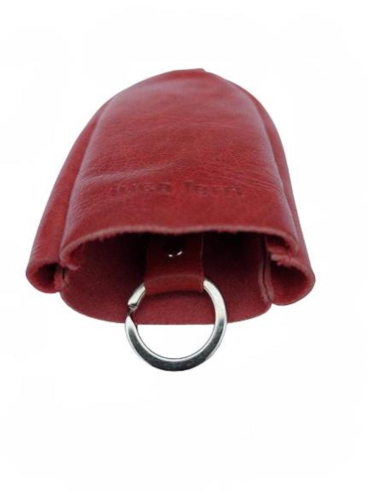 Nyckelfodral Klockmodell rött läder