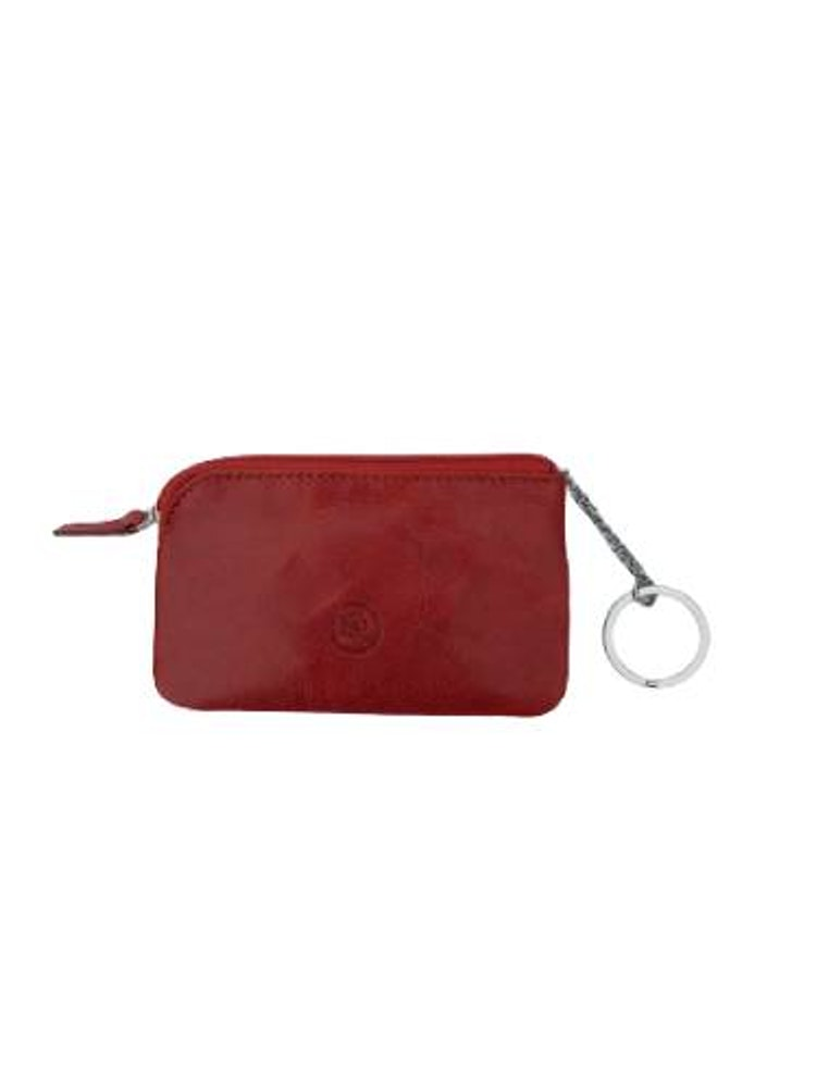 Nyckelfodral med nyckelring i kedja rött läder
