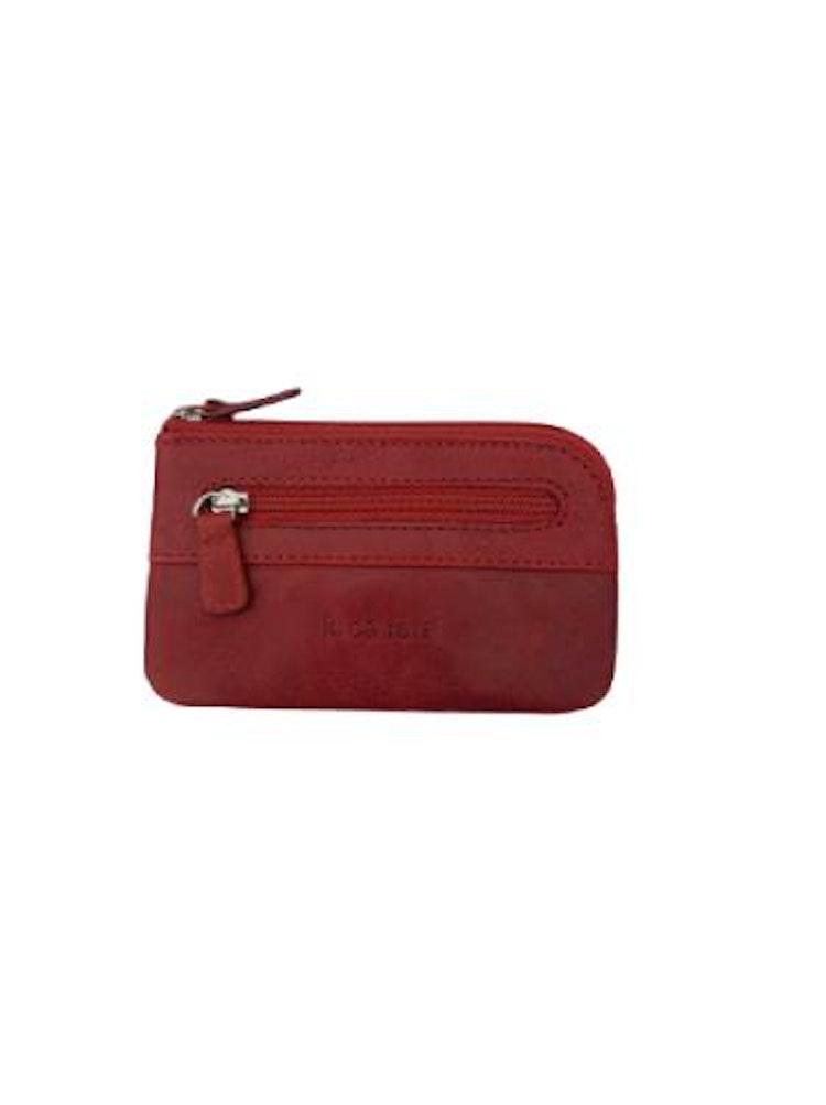 Nyckelfodral med nyckelring i kedja läder rött