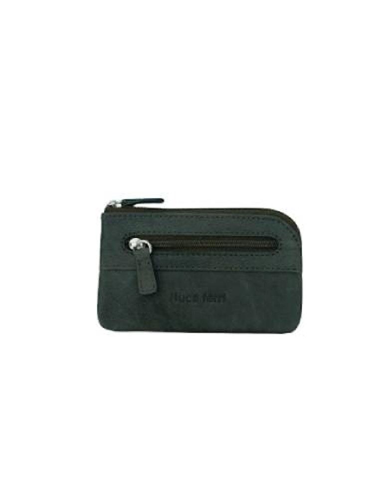Nyckelfodral med nyckelring i kedja läder grön