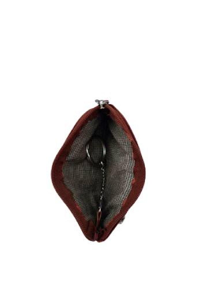 Nyckelfodral med nyckelring i kedja brunt/brandy läder