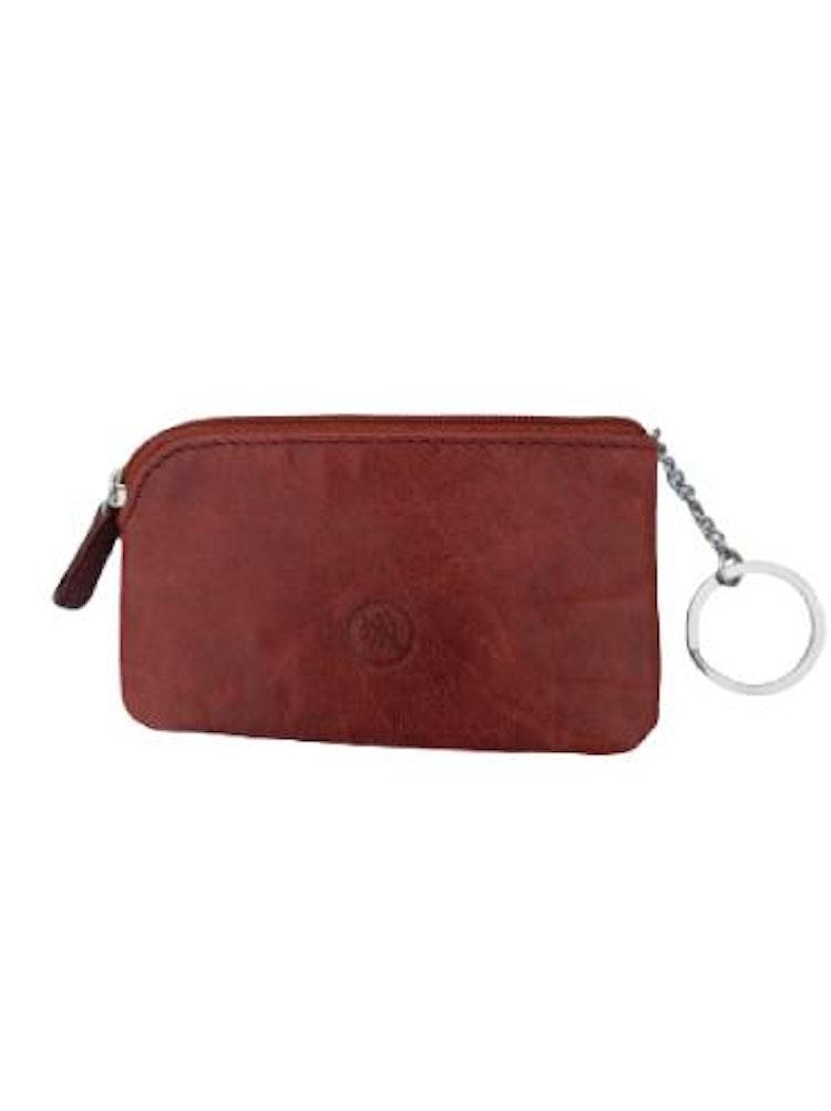 Nyckelfodral med nyckelring i kedja brunt läder