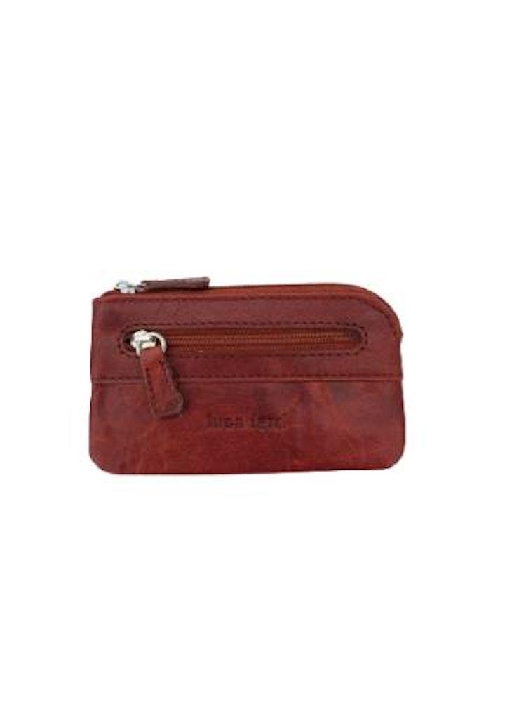 Nyckelfodral med nyckelring i kedja läder brunt
