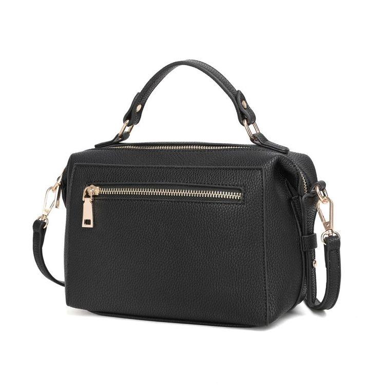 Axelremsväska svart konstskinn med handtag kan bäras som handväska