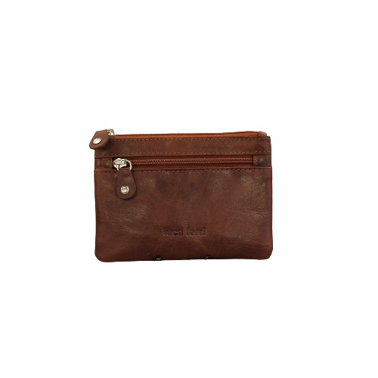 Nyckelfodral med plats för kort och sedlar i brunt läder
