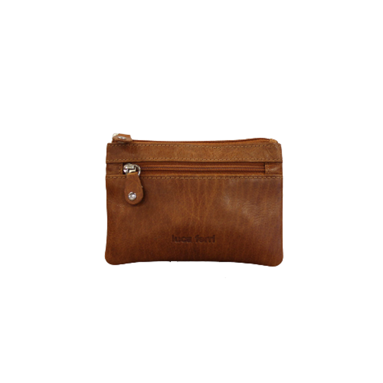 Nyckelfodral med plats för kort och sedlar i cognac färgat läder