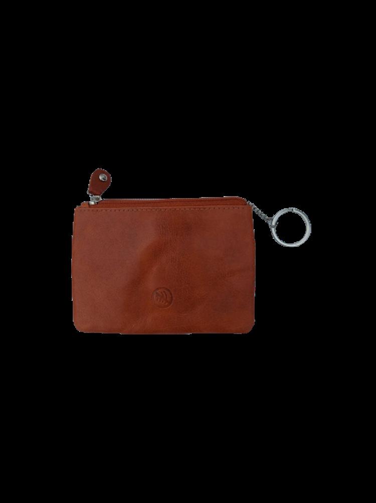 Nyckelfodral med 1 kedja och nyckelring i brunt läder