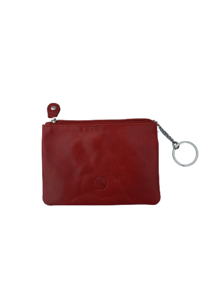 Nyckelfodral med 1 kedja och nyckelring i rött läder