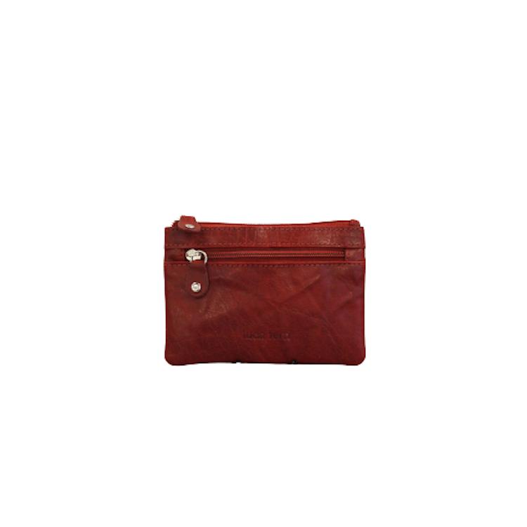 Nyckelfodral med plats för kort och sedlar i rött läder